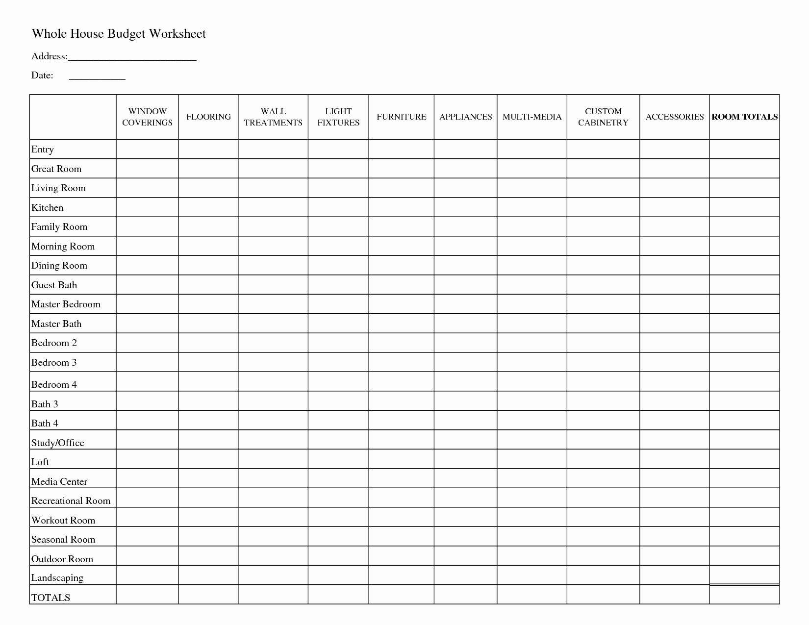 Free Household Budget Template New Printable Household Bud Worksheets