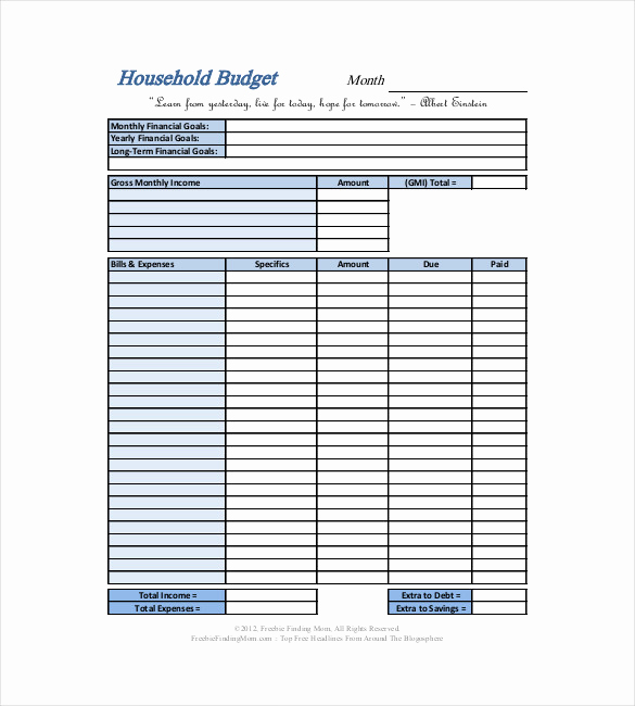 Free Household Budget Template Unique 10 Household Bud Templates Free Sample Example