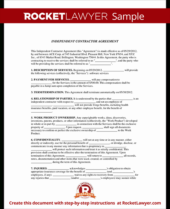 Free Independent Contractor Agreement Awesome Contractor Agreement Template