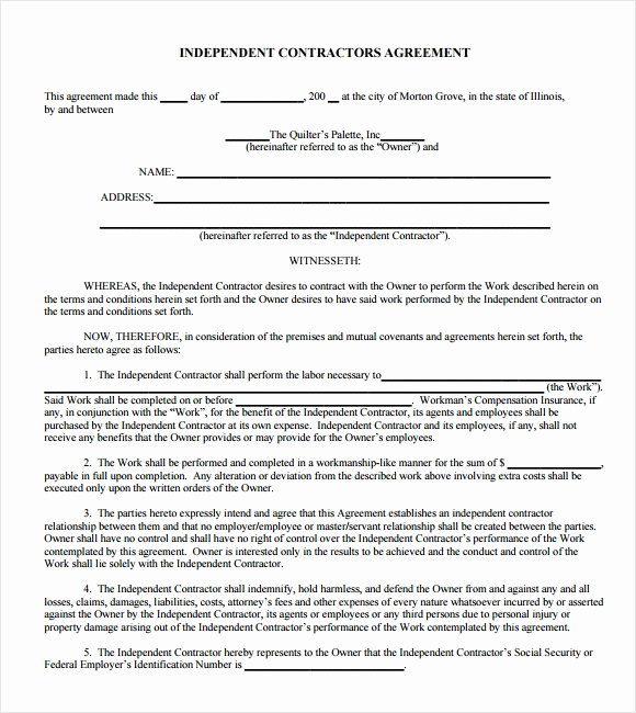 Free Independent Contractor Agreement Inspirational Sample Independent Contractor Agreement 22 Documents