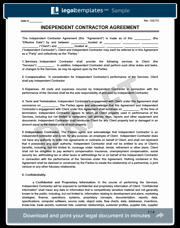 Free Independent Contractor Agreement Lovely Create An Independent Contractor Agreement