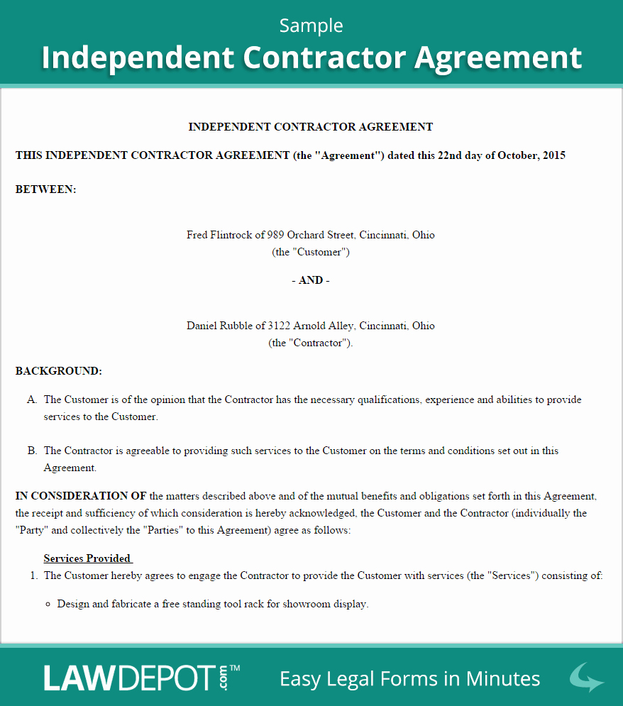 Free Independent Contractor Agreement New Independent Contractor Agreement Template Us