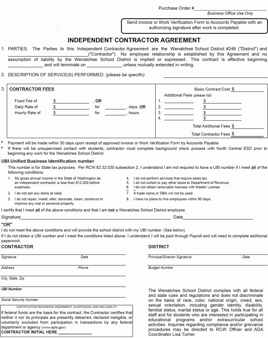 Free Independent Contractor Agreement Unique 50 Free Independent Contractor Agreement forms & Templates