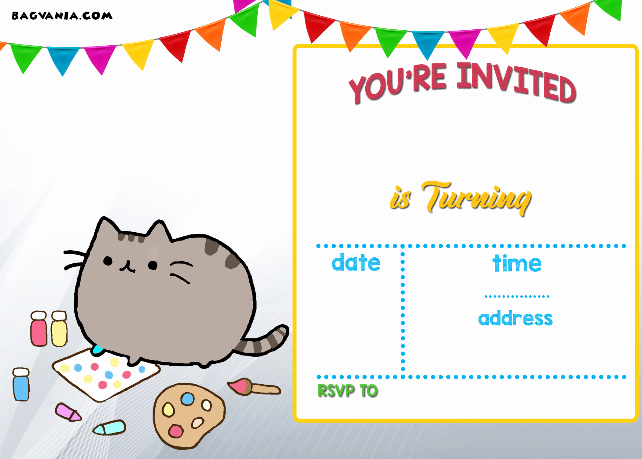 Free Invitation Template Printable Awesome Free Printable Pusheen Birthday Invitation Template