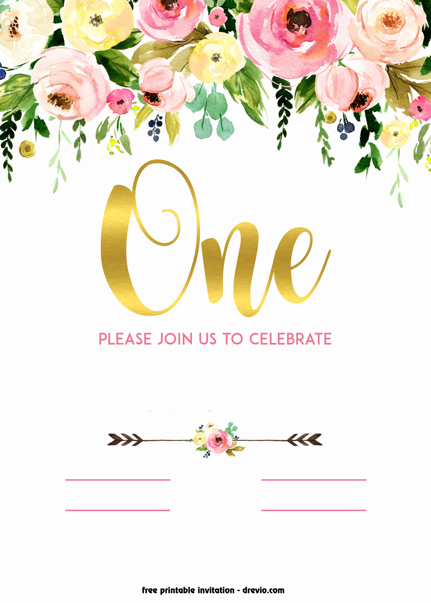 Free Invitation Template Printable Elegant Free Printable 1st Birthday Invitation – Vintage Style