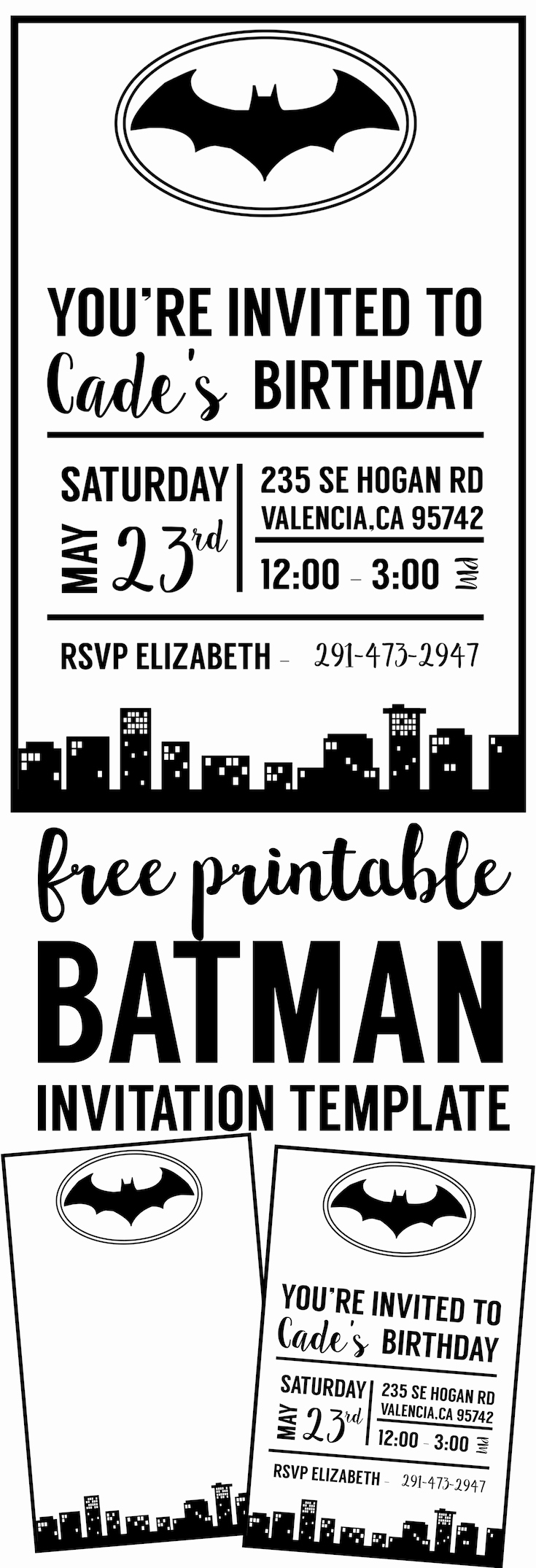 Free Invitation Template Printable Luxury Free Batman Invitation Template Paper Trail Design
