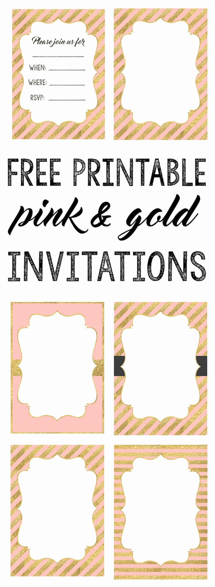 Free Invitation Template Printable Luxury Pink and Gold Invitations Free Printable Baby