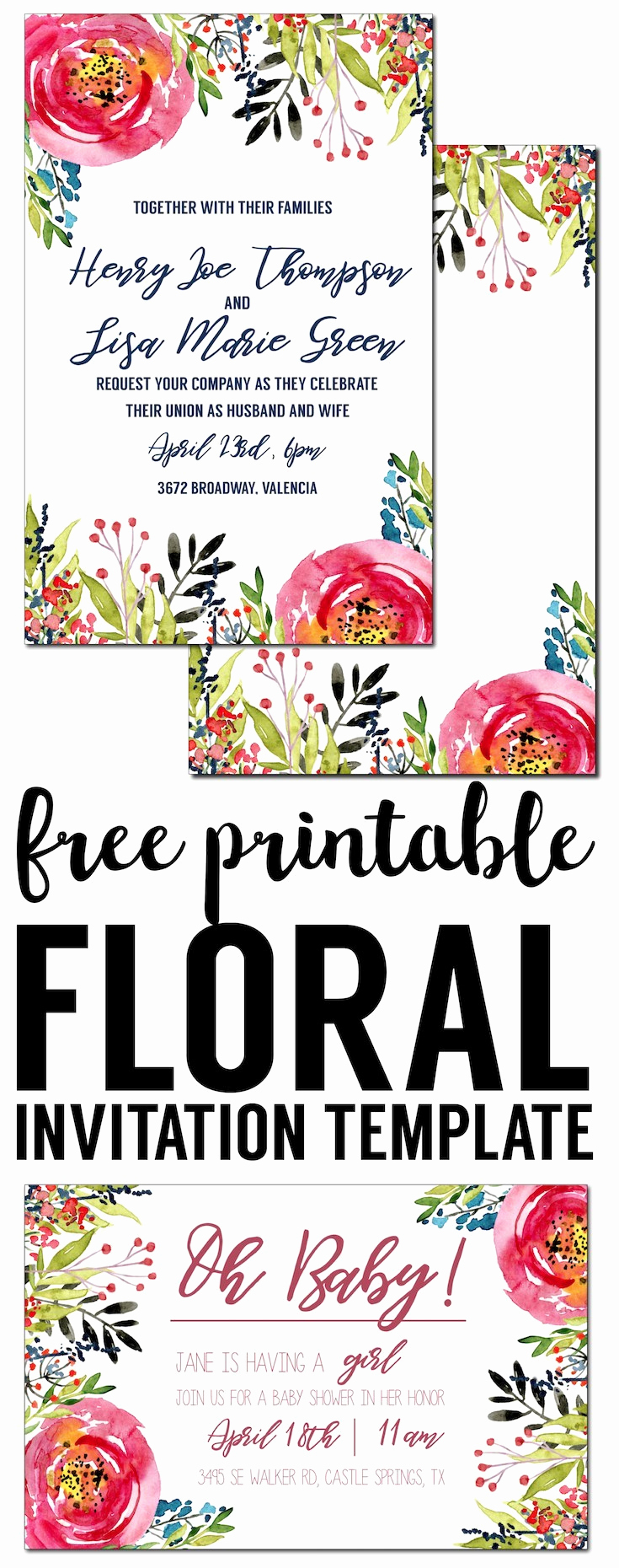 Free Invitation Template Printable New Floral Invitation Template Free Printable Paper Trail