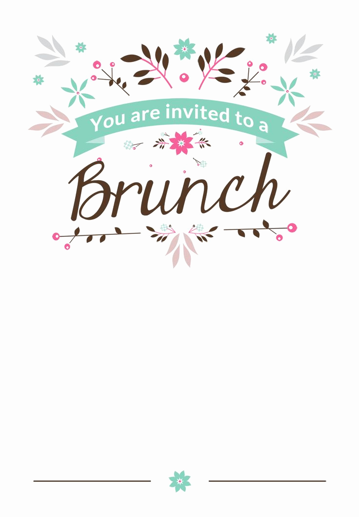 Free Invitation Template Printable Unique Flat Floral Free Printable Brunch Invitation Template