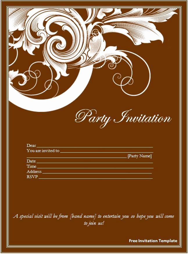 Free Invitation Templates for Word Elegant Invitation Template Word