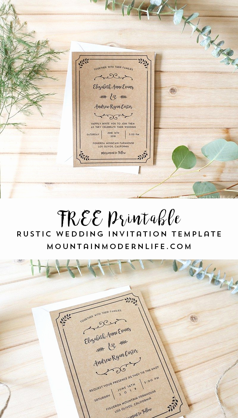 Free Invitation Templates Printable New Free Printable Wedding Invitation Template