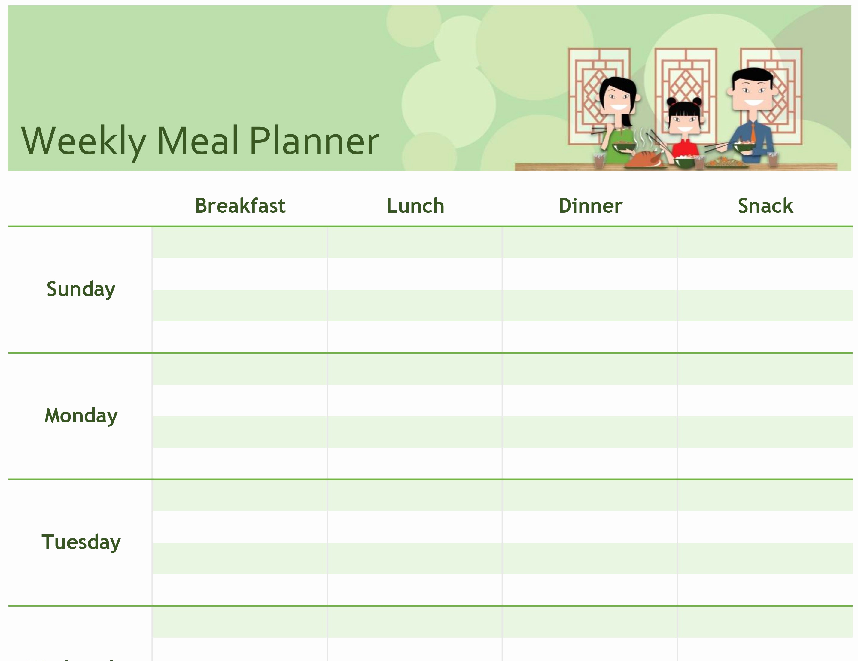 Free Meal Planner Template Awesome Excel