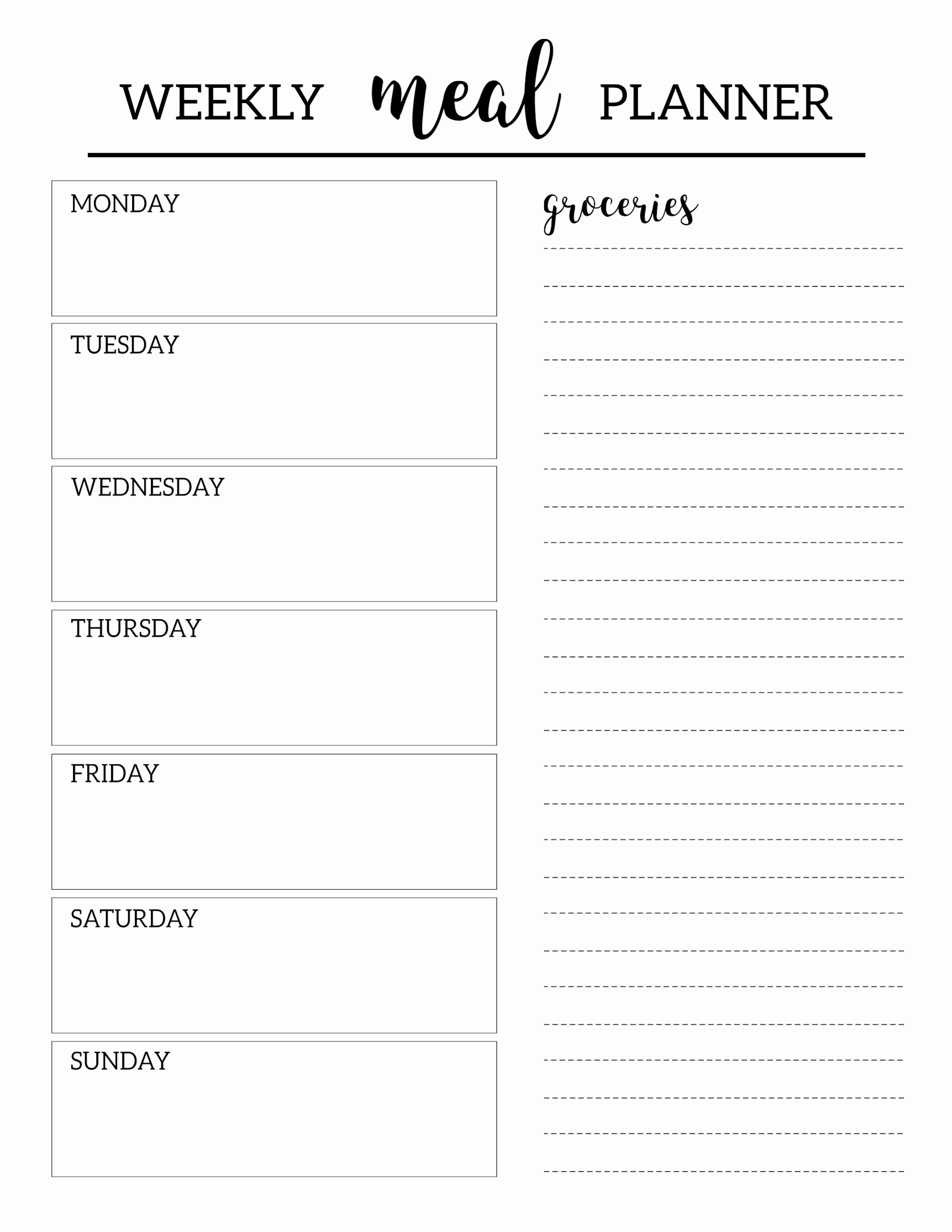 Free Meal Planner Template Elegant Free Printable Meal Planner Template Paper Trail Design