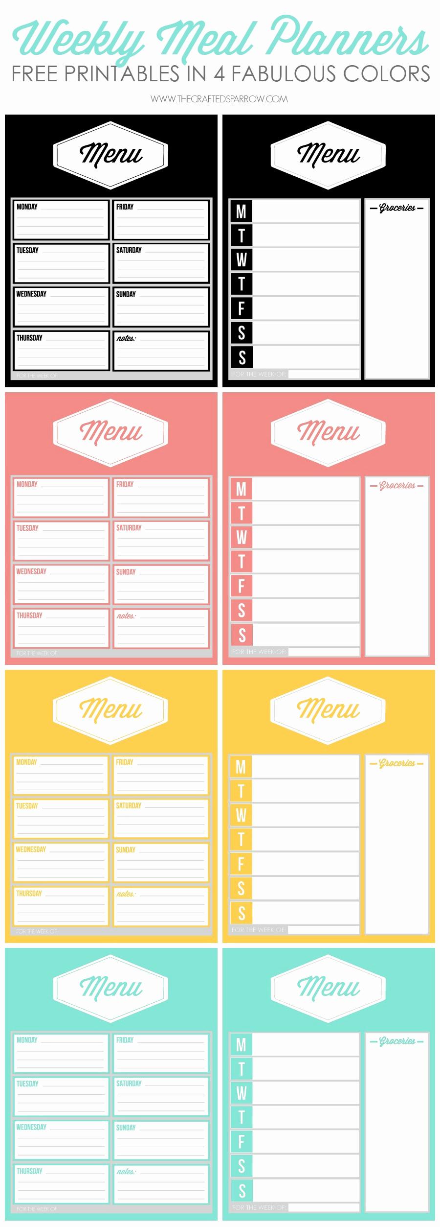 Free Meal Planner Template Elegant Free Printable Weekly Meal Planners