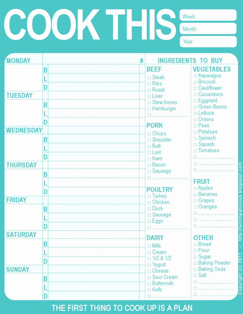 Free Meal Planner Template Fresh the Creative Cubby Pinspiration Friday New Year organization