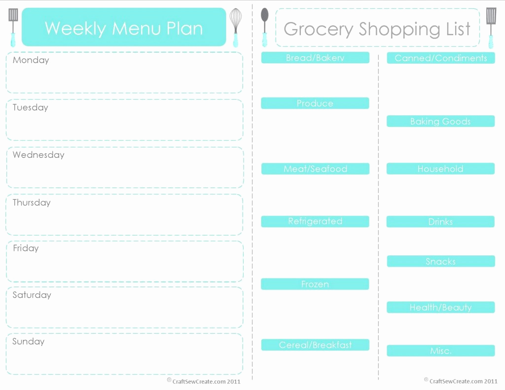 Free Meal Planner Template Inspirational 28 Free Printable Grocery List Templates
