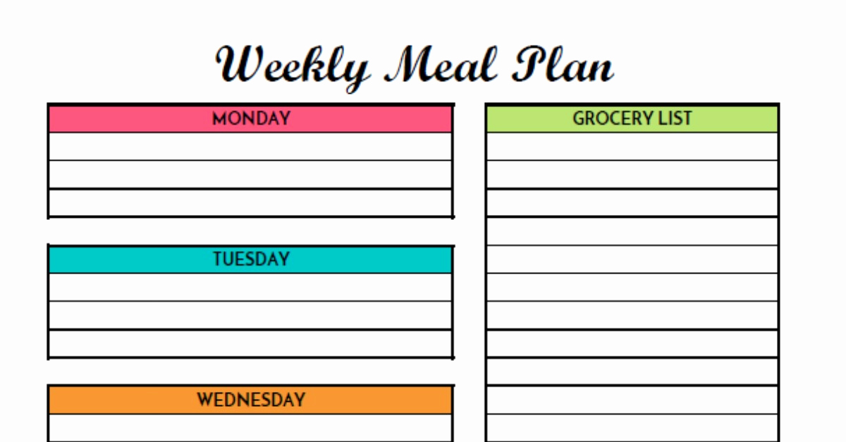 Free Meal Planner Template Inspirational Free Weekly Meal Planning Printable with Grocery List