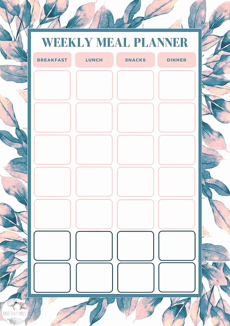 Free Meal Planner Template Lovely Free Weekly Meal Planning Template Bake Play Smile