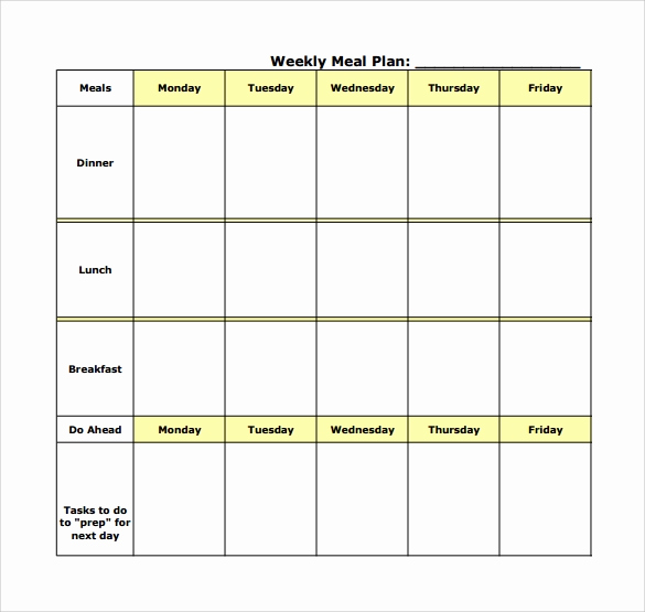 Free Meal Planner Template Luxury 18 Meal Planning Templates Pdf Excel Word
