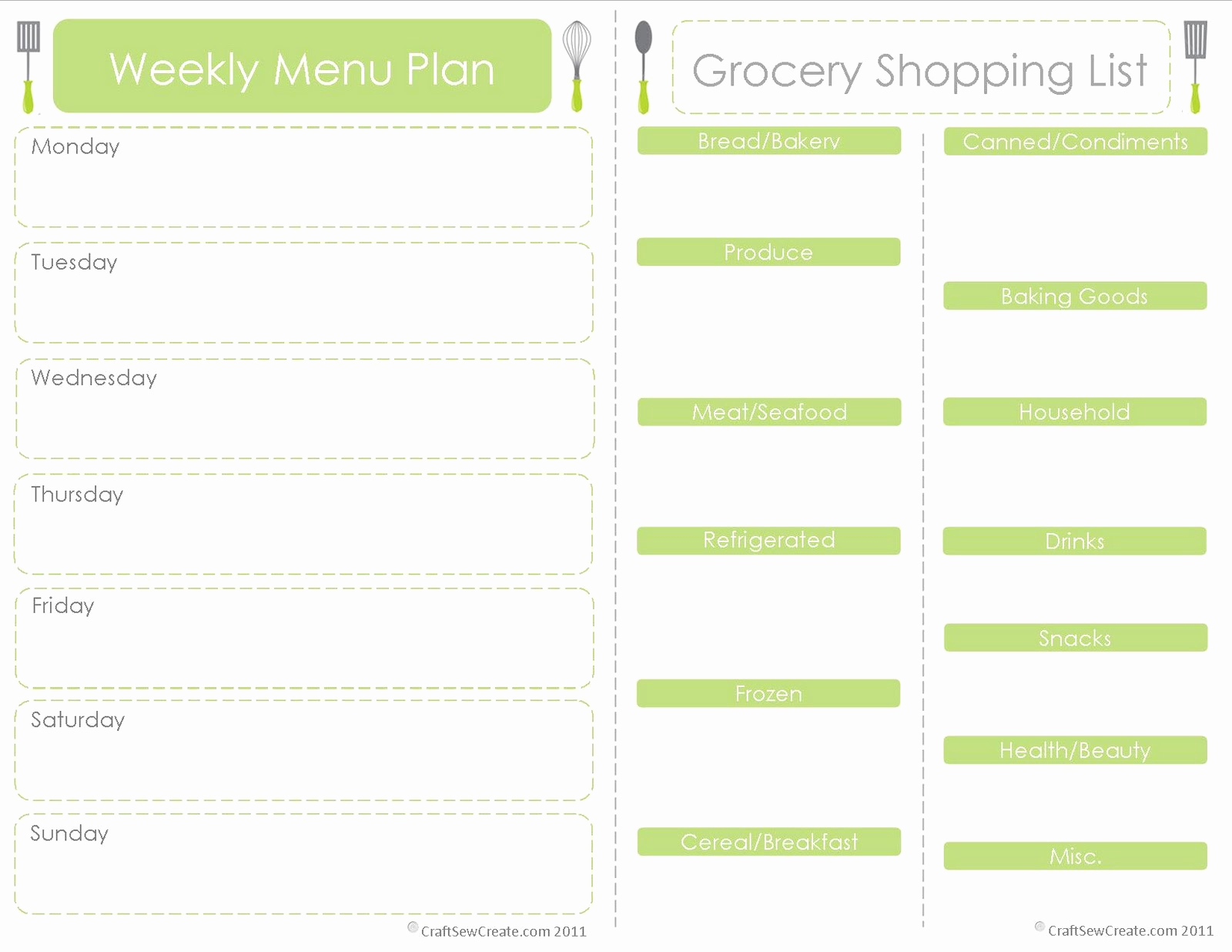 Free Meal Planner Template Luxury Craft Sew Create Free Printable Menu Plan Shopping List