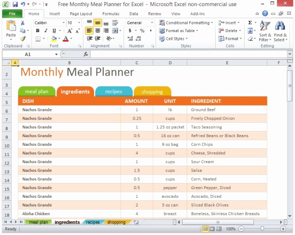 Free Meal Planner Template Luxury Free Monthly Meal Planner for Excel