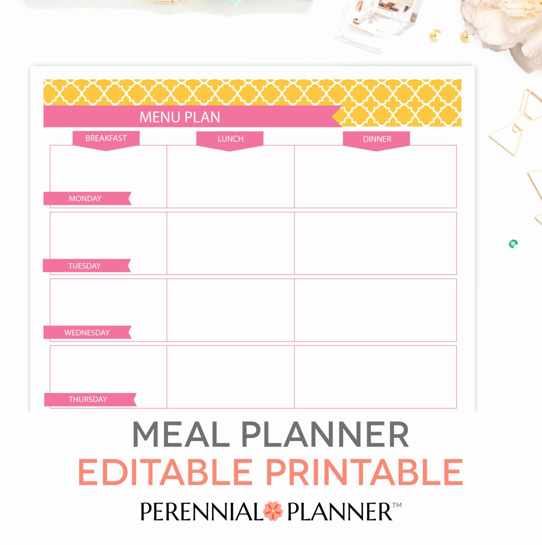 Free Meal Planner Template Luxury Menu Plan Weekly Meal Planning Template Printable Editable