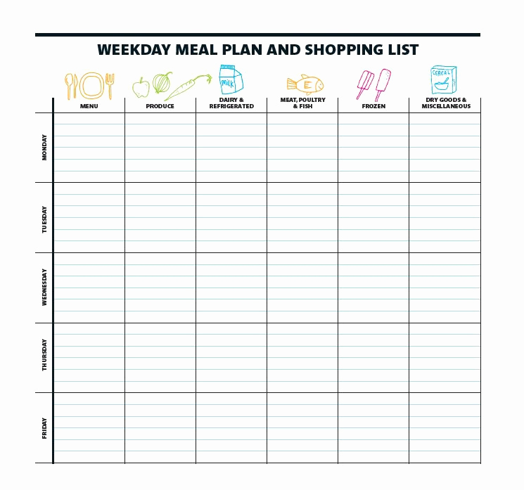 Free Meal Planner Template New 40 Weekly Meal Planning Templates Template Lab