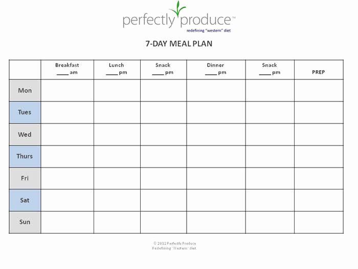 """Free Meal Planner Template New Free 7 Day Meal Planning Template """"always Be Prepared"""