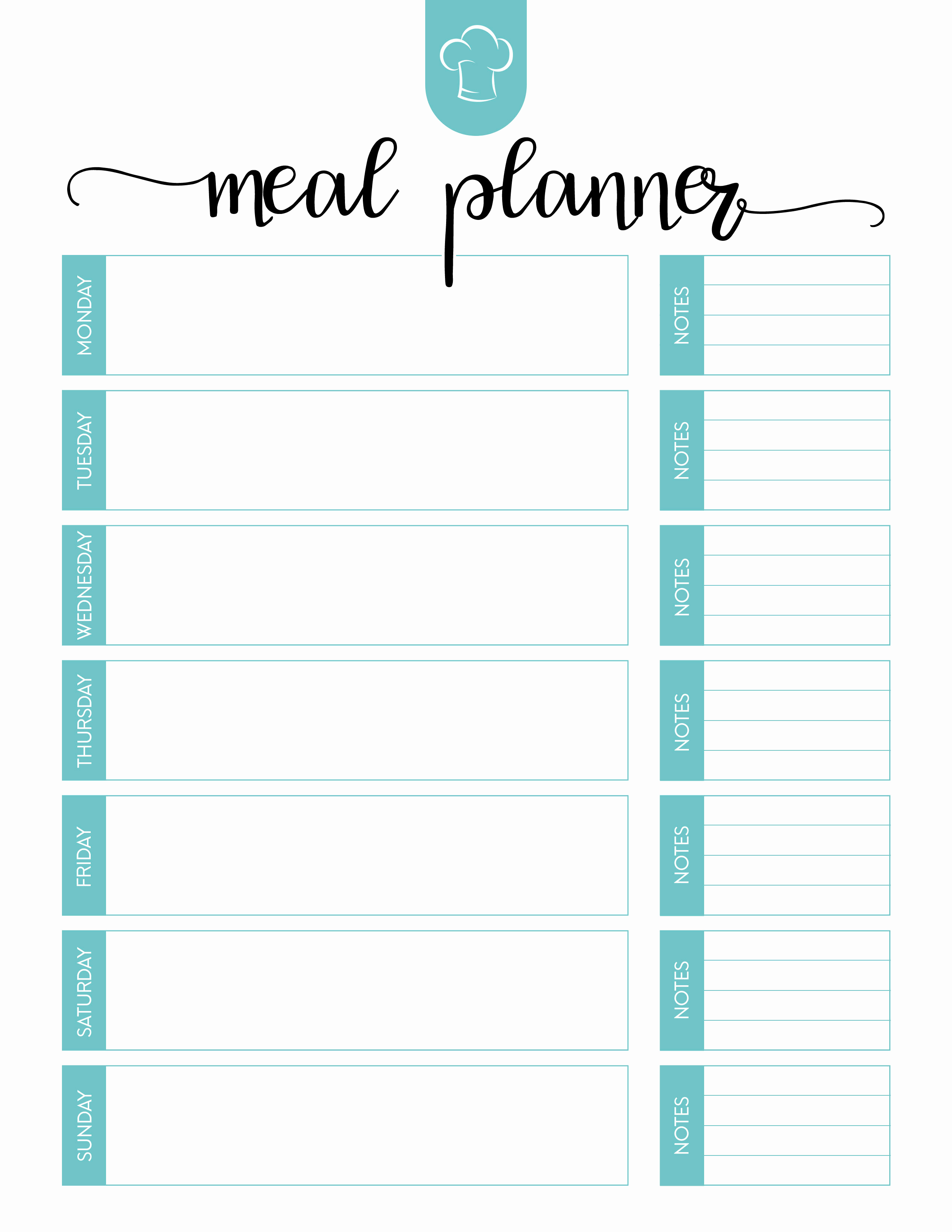 Free Meal Planner Template New Free Printable Meal Planner Set the Cottage Market