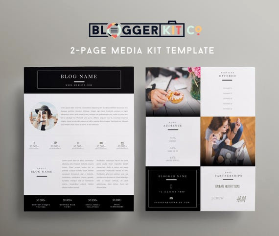 Free Media Kit Template Awesome Two Page Media Kit Template Press Kit Template by Bloggerkitco
