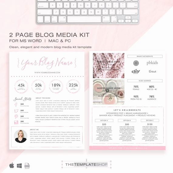 Free Media Kit Template Elegant Media Kit Template 2 Page Blog Media Kit Press Kit