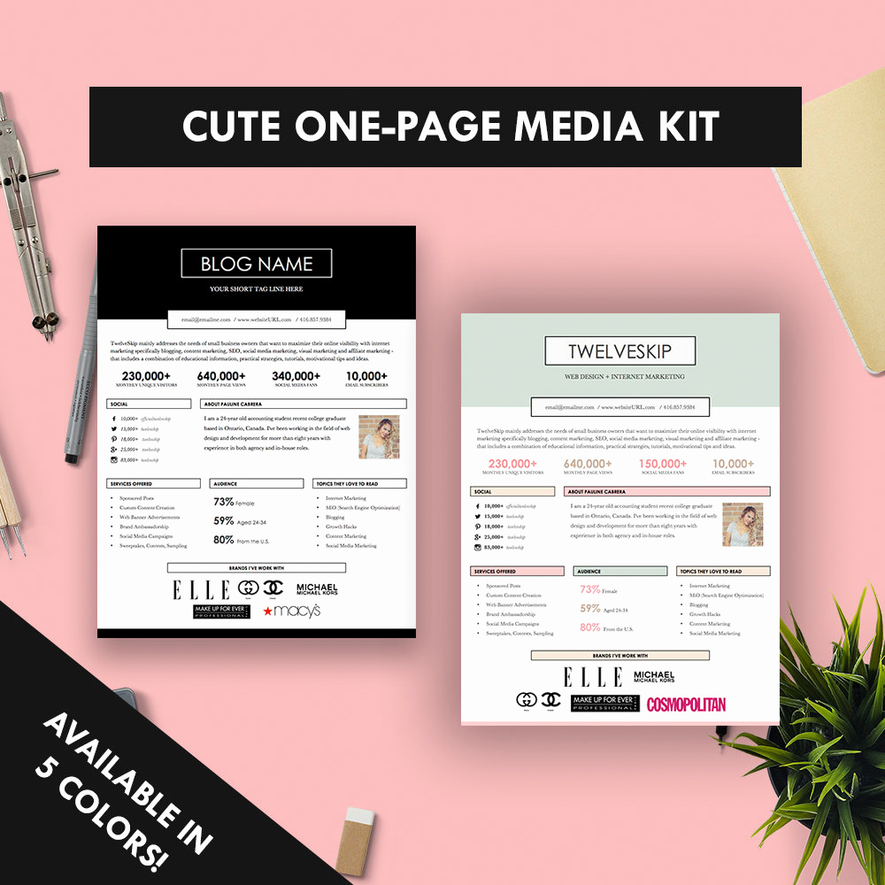 Free Media Kit Template Fresh Cute E Page Media Kit Template Press Kit Pastel Black