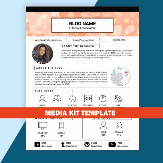 Free Media Kit Template Unique Blog Media Kit Template Mixed Media Kit Instant by Resumesouk