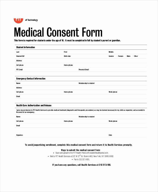 Free Medical Consent form Awesome Blank Medical forms 35 Free Documents In Word Pdf