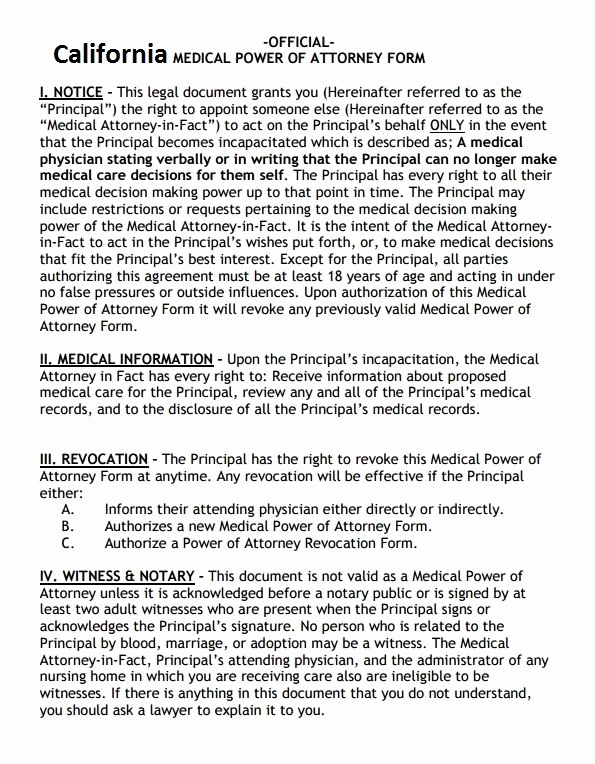 Free Medical Power Of attorney Awesome Free Power Of attorney forms Pdf Template