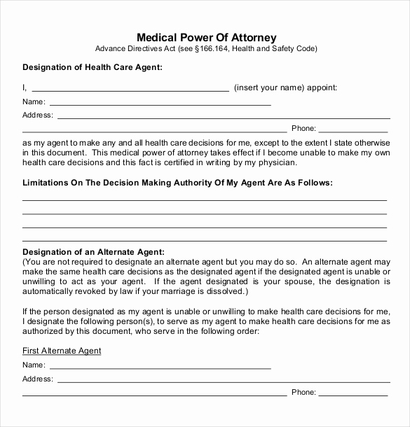 Free Medical Power Of attorney Inspirational Power Of attorney Templates – 10 Free Word Pdf Documents