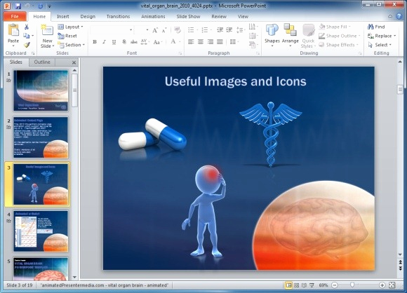 Free Medical Powerpoint Templates Lovely Vital organ Powerpoint Template with Brain Scan Animation