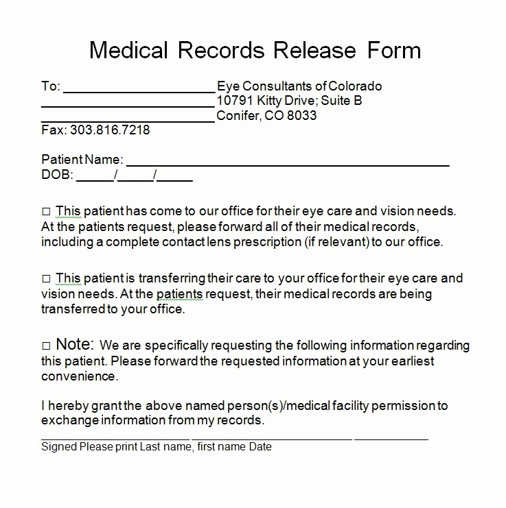 Free Medical Release form Awesome 30 Medical Release form Templates Template Lab
