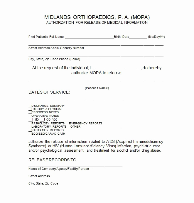Free Medical Release form Best Of 30 Medical Release form Templates Template Lab