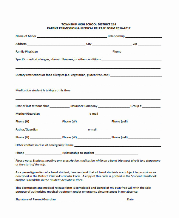 Free Medical Release form Elegant 21 Emergency Release form Example