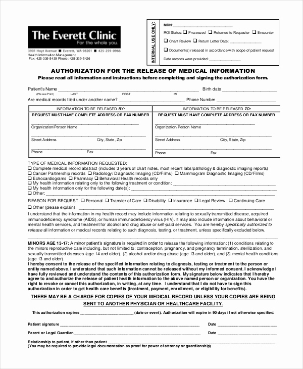 Free Medical Release form Fresh 10 Medical Release forms Free Sample Example format