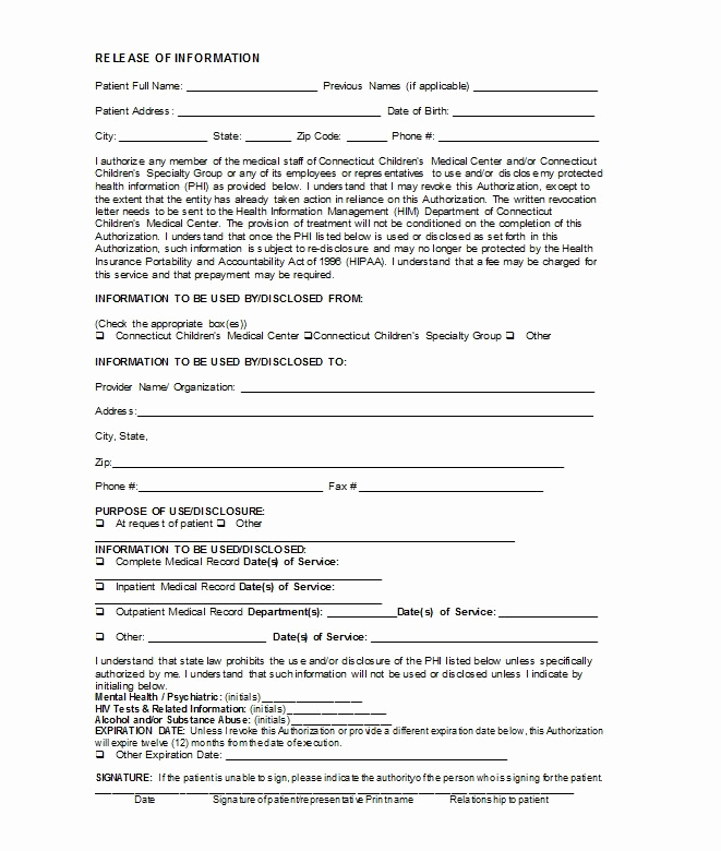 Free Medical Release form Inspirational 30 Medical Release form Templates Free Template Downloads