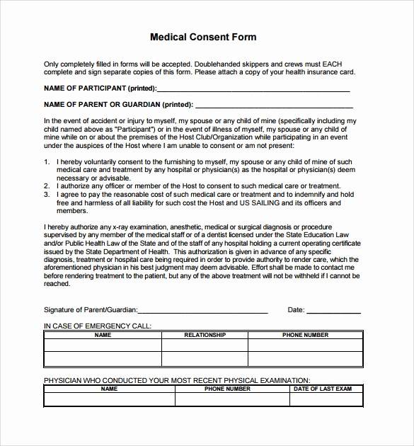 Free Medical Release form Inspirational Sample Medical Consent form 13 Free Documents In Pdf