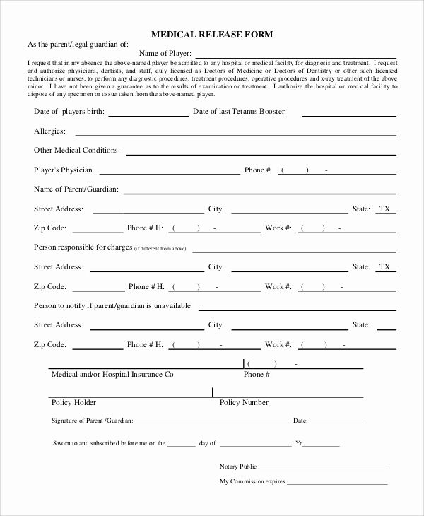 Free Medical Release form Lovely 9 Sample Release forms