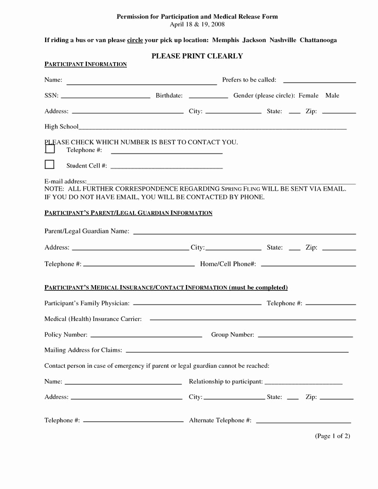 Free Medical Release form Luxury Print Medical Release form