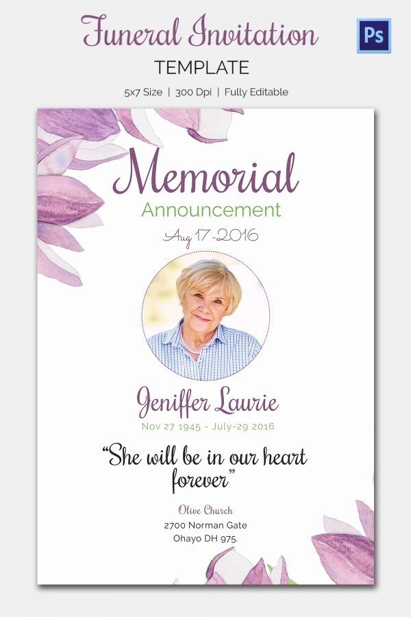 Free Memorial Card Template Awesome Funeral Invitation Template – 12 Free Psd Vector Eps Ai