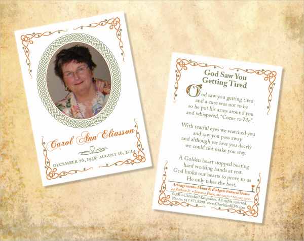 Free Memorial Card Template Awesome Memorial Cards for Funeral Template Free