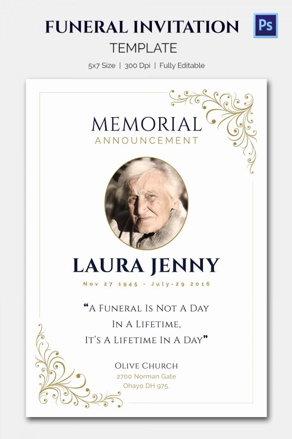 Free Memorial Card Template Elegant 15 Funeral Invitation Templates – Free Sample Example