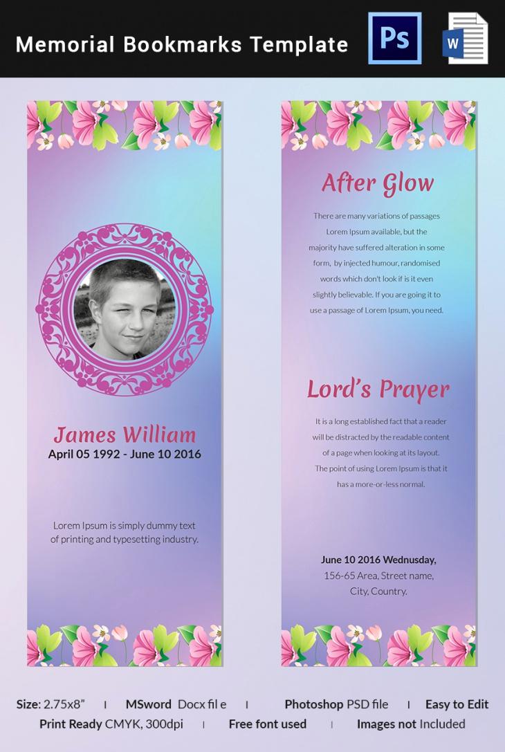 Free Memorial Card Template Fresh 5 Memorial Bookmark Templates – Free Word Pdf Psd