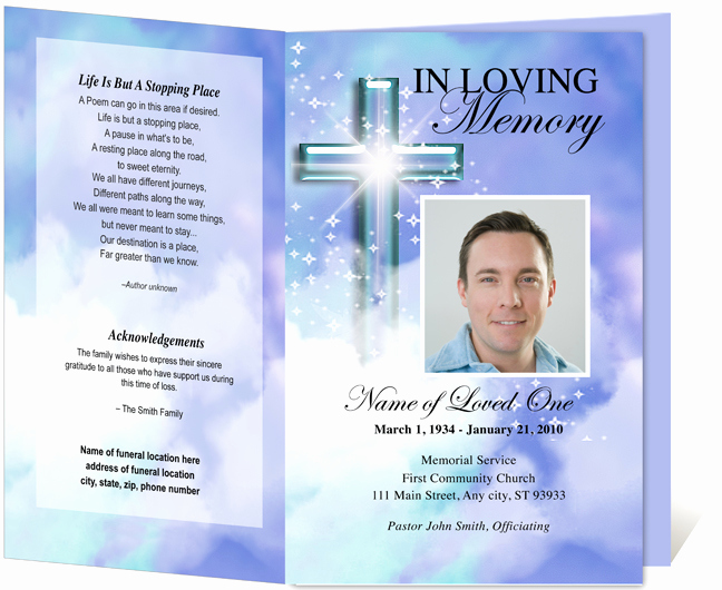 Free Memorial Card Template Inspirational Free Funeral Program Template